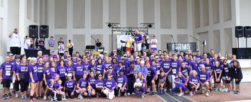 Over 150 Jude's Dudes assembled at Jax. Beach Seawalk Pavilion  to raise awareness of Pancreatic Cancer.