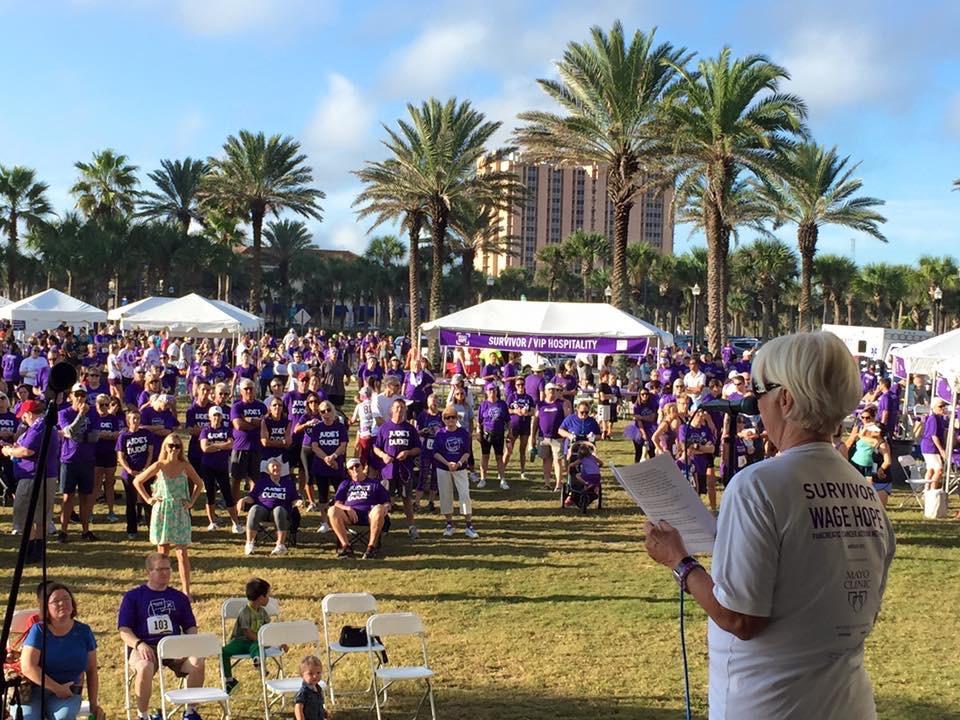 Delivering my speech before Purple Stride race begins.